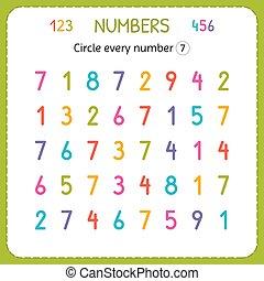 compte, preschool., formation, worksheet, nombre, seven., numbers., écrire, chaque, nombres, jardin enfants, exercices, cercle, enfants, kids.