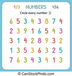compte, preschool., formation, worksheet, three., nombre, numbers., jardin enfants, écrire, chaque, nombres, exercices, cercle, enfants, kids.