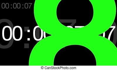 compte rebours, écran, graphique, vert