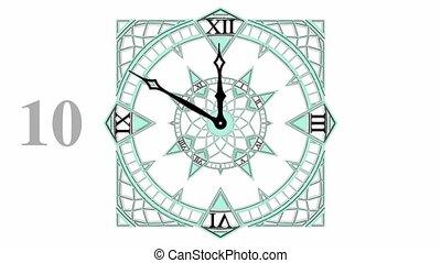 compte rebours, animation, gothique, horloge