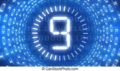 compte rebours, code binaire