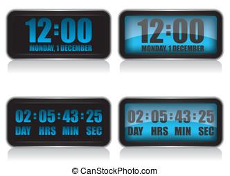 compte rebours, horloge numérique