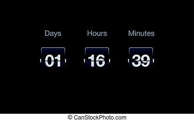 compte rebours, interfaces., horloge, timer., compteur, chiquenaude, sites web, heures, jours, vecteur, minutes.