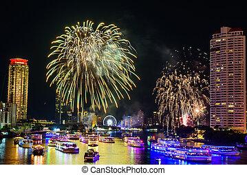 compte rebours, rivière, temps, ville, nouvel an, feux artifice