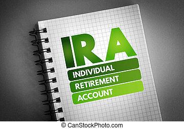 compte, -, retraite, acronyme, ira, individu