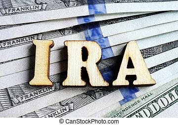 compte, retraite, lettres, dollar, billets banque., individu, ira
