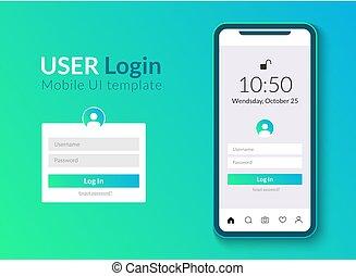 compte, smartphone, mobile, app, signe, téléphone, vecteur, ui, utilisateur, propre, interface, login, template., design.