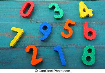 compte, une, neuf, nombres, apprendre, mélangé, préscolaire