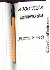 comptes, livre, stylo