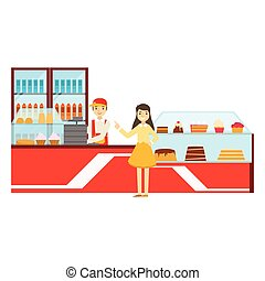 compteur, femme, commander, dessert, illustration, personne, vecteur, patisserie, doux, sourire, café, avoir