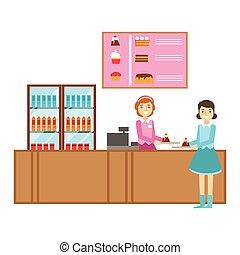 compteur, girl, commander, dessert, illustration, personne, vecteur, patisserie, doux, gâteau, sourire, café, avoir