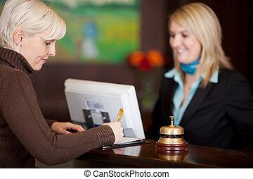 compteur, invité, formulaire, hôtel, haut, remplissage
