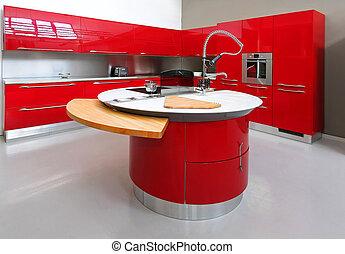 compteur, rouges, cuisine
