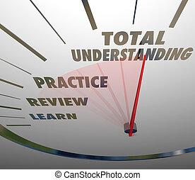 compteur vitesse, apprentissage, compréhension, total, mesure, education