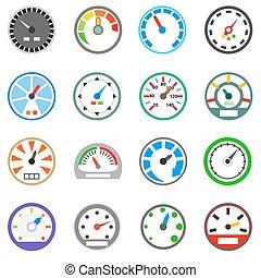 compteur vitesse, icônes, ensemble, simple, style