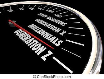 compteur vitesse, mots, x, génération, z, illustration, y, millennials, 3d