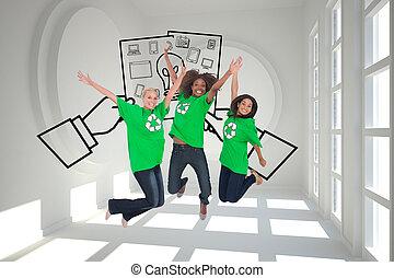 compuesto, activists, ambiental, saltar, sonriente, imagen