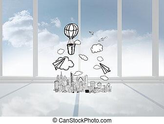compuesto, aire, caliente, imagen, globo