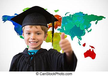 compuesto, alumno, graduación, lindo, bata, imagen