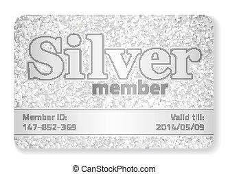 compuesto, brilla, miembro, vip, plata, tarjeta