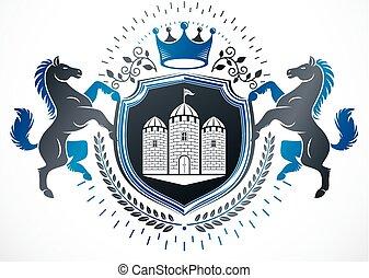 compuesto, caballo, medieval, utilizar, ilustración, ...