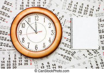 compuesto, calendario, reloj