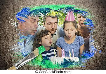 compuesto, celebrar, imagen, cumpleaños, familia