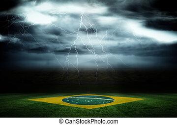 compuesto, digital generado, bandera nacional, imagen, brasileño