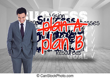 compuesto, el estar parado sonriente, hombre de negocios, ...