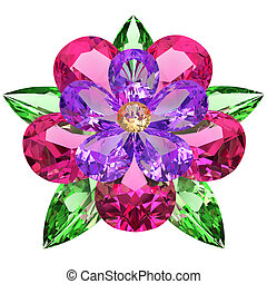 compuesto, flor blanca, coloreado, piedras preciosas