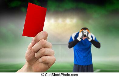 compuesto, imagen, Arriba, mano, rojo, tenencia, tarjeta
