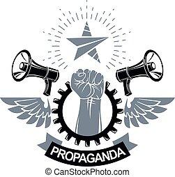 compuesto, levantado, emblema, puño, libertad, resumen,...
