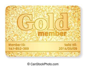 compuesto, oro, brilla, miembro, vip, tarjeta