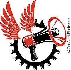 compuesto, propaganda., revolución, wheel., alado, resumen,...