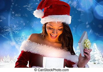 compuesto, regalo, niña, apertura, santa, sexy, imagen