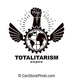 compuesto, rueda, levantado, revolución, emblema, diente,...