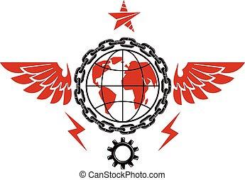 compuesto, social, industrial, emblema, engranaje, globo,...