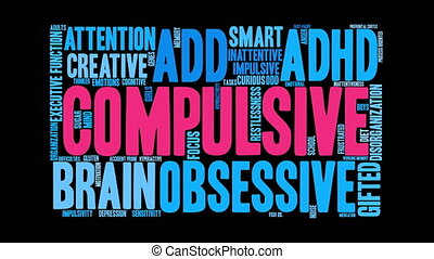 Compulsive Word Cloud - Compulsive ADHD word cloud on a...