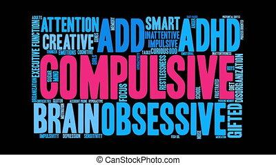 Compulsive Word Cloud - Compulsive ADHD word cloud on a...