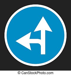Compulsory ahead or left sign flat icon, Traffic and road...