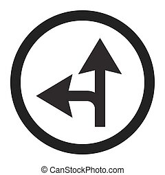 Compulsory ahead or left sign line icon, Traffic and road...