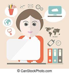 computador, ícones negócio, ilustração, vetorial, secretária