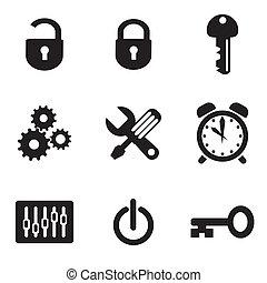 computador, ajustes, ícones