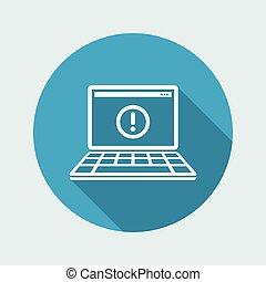 computador, alerta, -, apartamento, mínimo, ícone