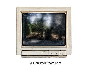 computador, antigas, monitor, isolado