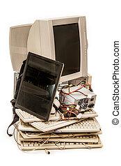 computador, antigas, monitor, teclados