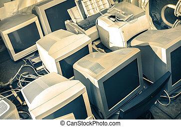 computador, antigas, monitores