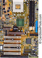 computador, antigas, motherboard, cima