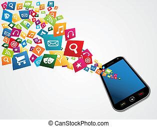 computador, aplicações, móvel