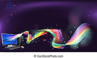 computador, arco íris, fundo